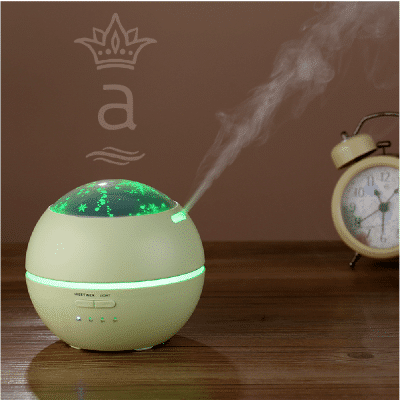 Difusor de aromas con ultrasonido, humidificador con iluminación led tipo lámpara blanco
